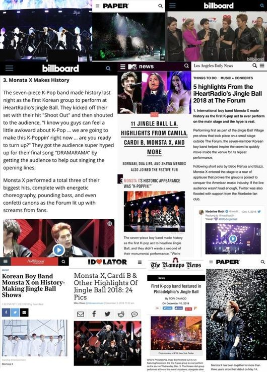 Monsta X highly praised by US media after Jingle Ball tour