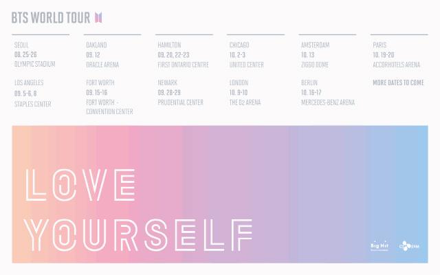 방탄소년단, 'LOVE YOURSELF' 투어 첫 일정 발표! 11개 도시 22회
